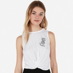 EXPRESS Pineapple Embroidered Cropped Twist Tank.